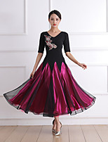 cheap -Ballroom Dance Dress Embroidery Crystals / Rhinestones Women's Training Performance Short Sleeve Crystal Cotton Mesh