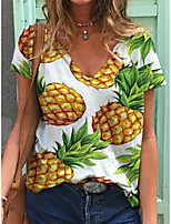 cheap -Women's T shirt Fruit Print V Neck Tops Cotton Basic Basic Top White