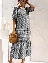 cheap -Women's A Line Dress Maxi long Dress Wine Red Little black Amazon quality Little white Black Blue Red Yellow khaki Rose Red Short Sleeve Polka Dot Solid Color Color Block Patchwork Summer Round Neck
