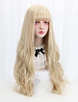 cheap -Free Beauty Long Wavy Synthetic Blonde 32 Cosplay Lolita Hair Wigs with Bangs for Women Costume Party High Temperature Fiber