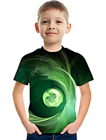 cheap -Kids Boys' Tee Short Sleeve Graphic Children Tops Active Green 3-12 Years