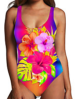 cheap -Women's One Piece Monokini Swimsuit Tummy Control Print Floral Leaf Red Swimwear Bodysuit Strap Bathing Suits New Fashion Sexy