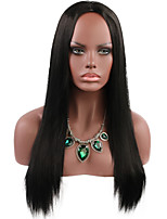 cheap -Synthetic Wig Natural Straight Middle Part Wig Medium Length Black Synthetic Hair Women's Party Fashion Comfy Black