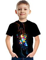 cheap -Kids Boys' Tee Short Sleeve Graphic Children Tops Active Black 3-12 Years