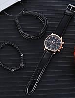 cheap -Men's Dress Watch Analog Quartz Classic Chronograph Fake Three Eyes Six Needles Large Dial / PU Leather
