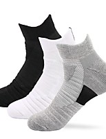 cheap -Men's Hiking Socks 1 Pair Outdoor Soft Stretchy Sweat wicking Comfortable Socks Solid Color Polyester White Black Grey for Hunting Fishing Climbing