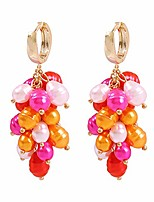 cheap -solememo gold tone elegant handmade multicolored simulated pearl cluster drop earring for women birthday party gift (pink & orange)