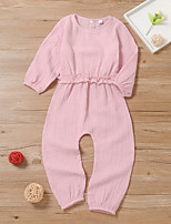 cheap -Kids Girls' Overall & Jumpsuit Solid Colored Peplum Blushing Pink Active 2-8 Years