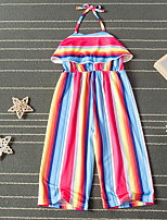 cheap -Kids Toddler Girls' Overall & Jumpsuit Rainbow Print Rainbow Active 2-6 Years