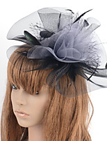 cheap -Retro Hyperbole Tulle Fascinators with Feather / Flower 1 Piece Special Occasion / Party / Evening Headpiece