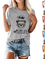 cheap -Women's Tee / T-shirt Pure Color Crew Neck Cotton Letter Printed Sport Athleisure T Shirt Top Short Sleeves Breathable Soft Comfortable Everyday Use Street Casual Daily Outdoor