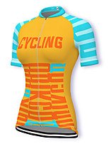 cheap -21Grams Women's Short Sleeve Cycling Jersey Spandex Yellow Bike Top Mountain Bike MTB Road Bike Cycling Breathable Sports Clothing Apparel / Stretchy / Athleisure