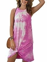 cheap -flovey women's casual tie dye short dress crew neck sleeveless loose t shirt mini dress (8196-pink, xl)
