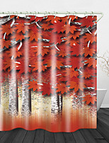 cheap -Red Maple Forest Print Waterproof Fabric Shower Curtain for Bathroom Home Decor Covered Bathtub Curtains Liner Includes with Hooks