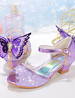 cheap -Girls' Heels Flower Girl Shoes Princess Shoes School Shoes Rubber PU Little Kids(4-7ys) Big Kids(7years +) Daily Party & Evening Walking Shoes Rhinestone Bowknot Buckle Purple Blue Pink Spring Summer