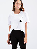 cheap -Women's T shirt Panda Letter Print Round Neck Tops Cotton Basic Basic Top White Black Purple