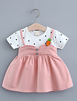 cheap -Toddler Little Girls' Dress Polka Dot Print Yellow Blushing Pink Orange Knee-length Sleeveless Regular Sweet Dresses Summer Loose 2-4 Years