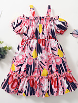 cheap -Kids Toddler Little Girls' Dress Floral Print Red Knee-length Sleeveless Active Dresses Summer Regular Fit 2-8 Years