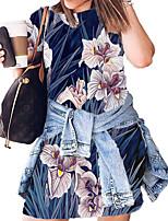 cheap -Women's T Shirt Dress Tee Dress Short Mini Dress White Black Blue Red Blushing Pink Wine Dusty Rose Green Royal Blue Rainbow Short Sleeve Floral Print Tie Dye Print Summer Round Neck Sexy 2021 S M L