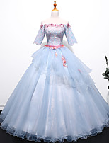 cheap -Ball Gown Elegant Floral Quinceanera Formal Evening Dress Off Shoulder Half Sleeve Floor Length Tulle with Pleats Appliques 2021