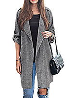 cheap -Women's Coat Solid Color Formal Style Casual Cotton Casual / Daily Coat Tops Dark Gray