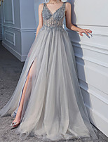 cheap -A-Line Beautiful Back Luxurious Engagement Formal Evening Dress V Neck Sleeveless Sweep / Brush Train Tulle with Sequin Split 2021