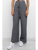 cheap -Women's Stylish Chino Comfort Daily Work Chinos Pants Plain Full Length Elastic Drawstring Design Grey