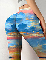 cheap -Women's Colorful Fashion Comfort Leisure Sports Weekend Leggings Pants Graphic Prints Landscape Ankle-Length Sporty Elastic Waist Print Blue