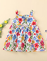cheap -Kids Little Girls' Dress Floral Print White Sleeveless Active Dresses Summer Regular Fit 2-6 Years