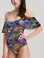 cheap -Women's New Vacation Sexy Monokini Swimsuit Color Block Geometric Tummy Control Ruffle Print Bodysuit Normal Off Shoulder Swimwear Bathing Suits Rainbow / One Piece / Party