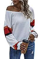 cheap -women's color block long batwing sleeve tee shirt round neck tops white medium