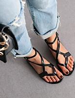 cheap -Women's Sandals Boho Bohemia Beach Flat Heel Round Toe PU Synthetics Black Silver