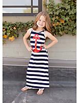 cheap -Kids Little Girls' Dress Striped Print Blue Long Sleeve Active Dresses Summer Regular Fit 2-8 Years