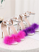 cheap -Women's Sandals Pumps Open Toe Business Sexy Minimalism Party & Evening Office & Career Rabbit Fur PU Feather Buckle Solid Colored Purple Red