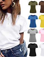 cheap -Women's Tee / T-shirt Pure Color Crew Neck Solid Color Sport Athleisure T Shirt Top Short Sleeves Breathable Quick Dry Soft Comfortable Everyday Use Street Casual Daily Outdoor
