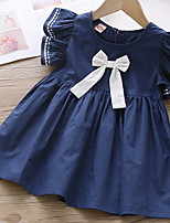 cheap -Kids Toddler Little Girls' Dress Solid Colored Bow White Dusty Blue Knee-length Short Sleeve Basic Cute Dresses Summer Regular Fit 2-9 Years