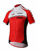 cheap -men's cycling jersey short sleeve shirt running top moisture wicking workout sports t-shirt red