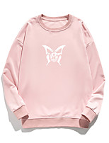 cheap -Women's Pullover Sweatshirt Butterfly Print Daily Other Prints Basic Hoodies Sweatshirts  White Blue Blushing Pink