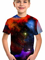 cheap -Kids Boys' T shirt Short Sleeve Galaxy Graphic 3D Print Children Tops Active Regular Fit Rainbow 5-12 Years