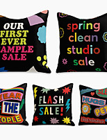 cheap -5 pcs Linen Pillow Cover, Holiday Square Zipper Polyester Traditional Classic