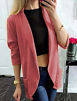 cheap -Women's Solid Colored Streetwear Fall & Winter Jacket Regular Going out Long Sleeve Cotton Blend Coat Tops Blushing Pink