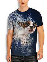 cheap -Men's Tees T shirt 3D Print Dog Graphic Prints Animal Print Short Sleeve Daily Tops Basic Casual Blue