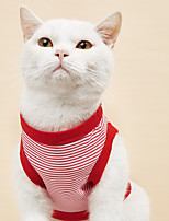 cheap -Dog Cat Shirt / T-Shirt Vest Stripes Basic Adorable Cute Dailywear Casual / Daily Dog Clothes Puppy Clothes Dog Outfits Breathable Red Blue Costume for Girl and Boy Dog Cotton XS S M L XL XXL