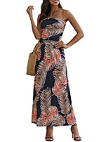 cheap -Women's Sheath Dress Maxi long Dress Purple Orange Sleeveless Floral / Botanical Spring Summer Casual / Daily 2021 S M L XL