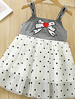 cheap -Kids Toddler Little Girls' Dress Black & White Polka Dot Check Mesh Patchwork Bow Black Knee-length Sleeveless Basic Dresses Summer Regular Fit 2-12 Years
