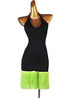 cheap -Latin Dance Dress Tassel Women's Training Performance Sleeveless High Spandex