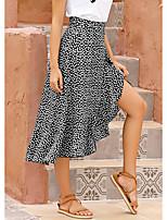 cheap -Women's Weekend Casual Skirts Floral Ruffle Black Green