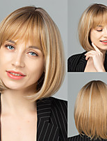 cheap -Synthetic Wig Natural Straight Neat Bang Wig Short Light Blonde Synthetic Hair Women's Cosplay Party Fashion Blonde