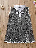 cheap -Kids Little Girls' Dress Solid Colored Print Gray Knee-length Long Sleeve Active Dresses Summer Regular Fit 2-6 Years