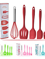 cheap -Silicone kitchenware 5-Piece Set Cooking Spoon Spatula Whisk Brush Kitchen Tool Color Box Packaging Cooking Tool Sets